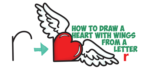 500x244 How To Draw Heart With Wings From Lowercase Letter R Shapes