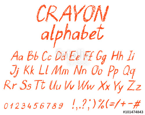 500x396 Crayon Child's Drawing Alphabet. Pastel Chalk Font. Abc Drawing