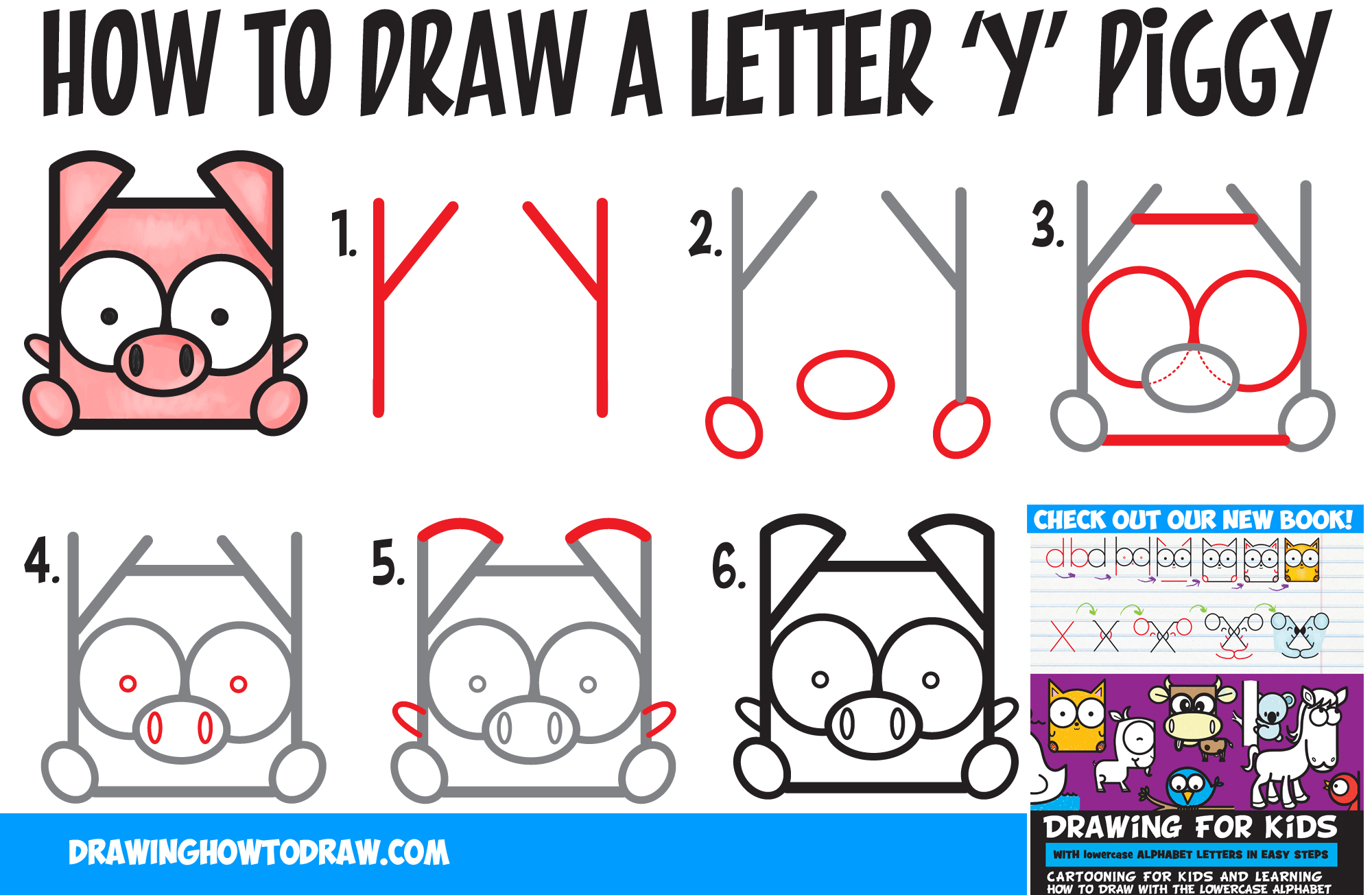 2000x1304 How To Draw A Cute Kawaii Cartoon Pig From Letter