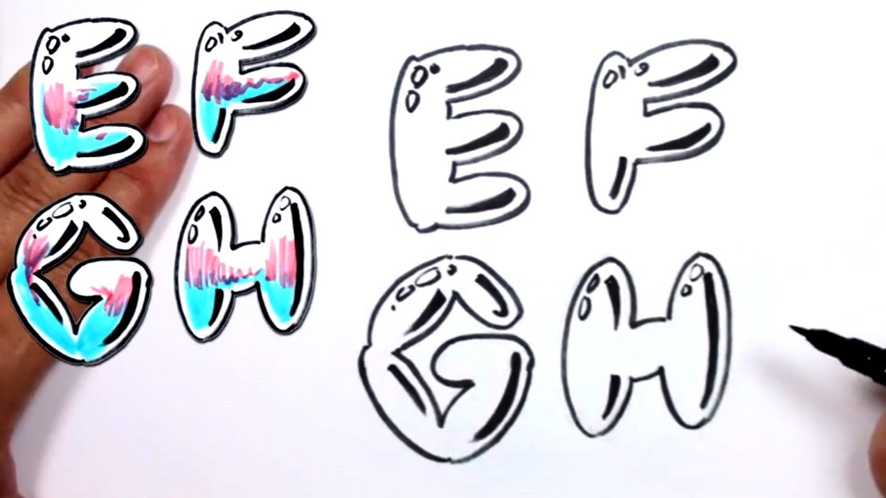 1280x720 Graffiti Letters Alphabet Bubble E F G H