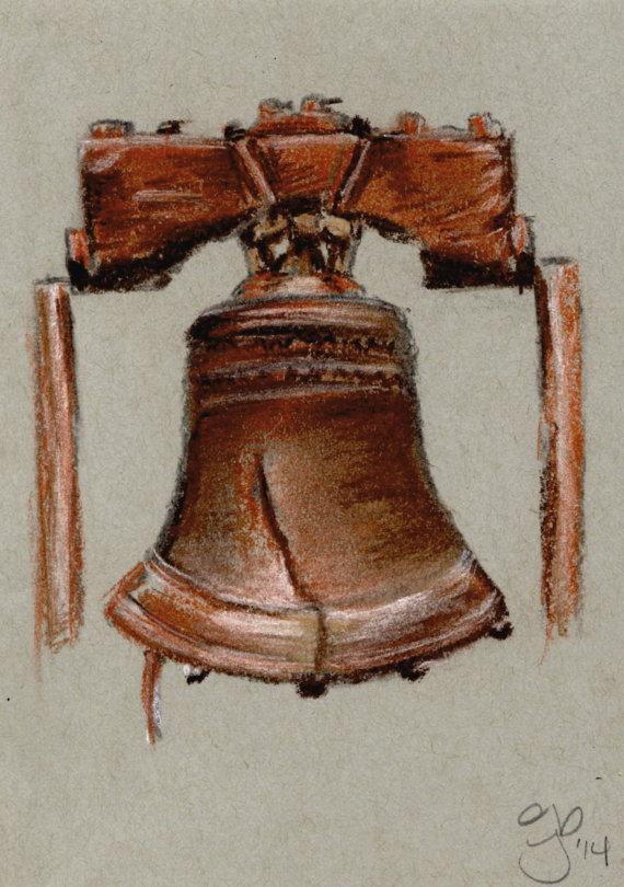 570x810 5 X 7 Liberty Bell Pastel Sketch By Jamiepbruno On Etsy Jamie P