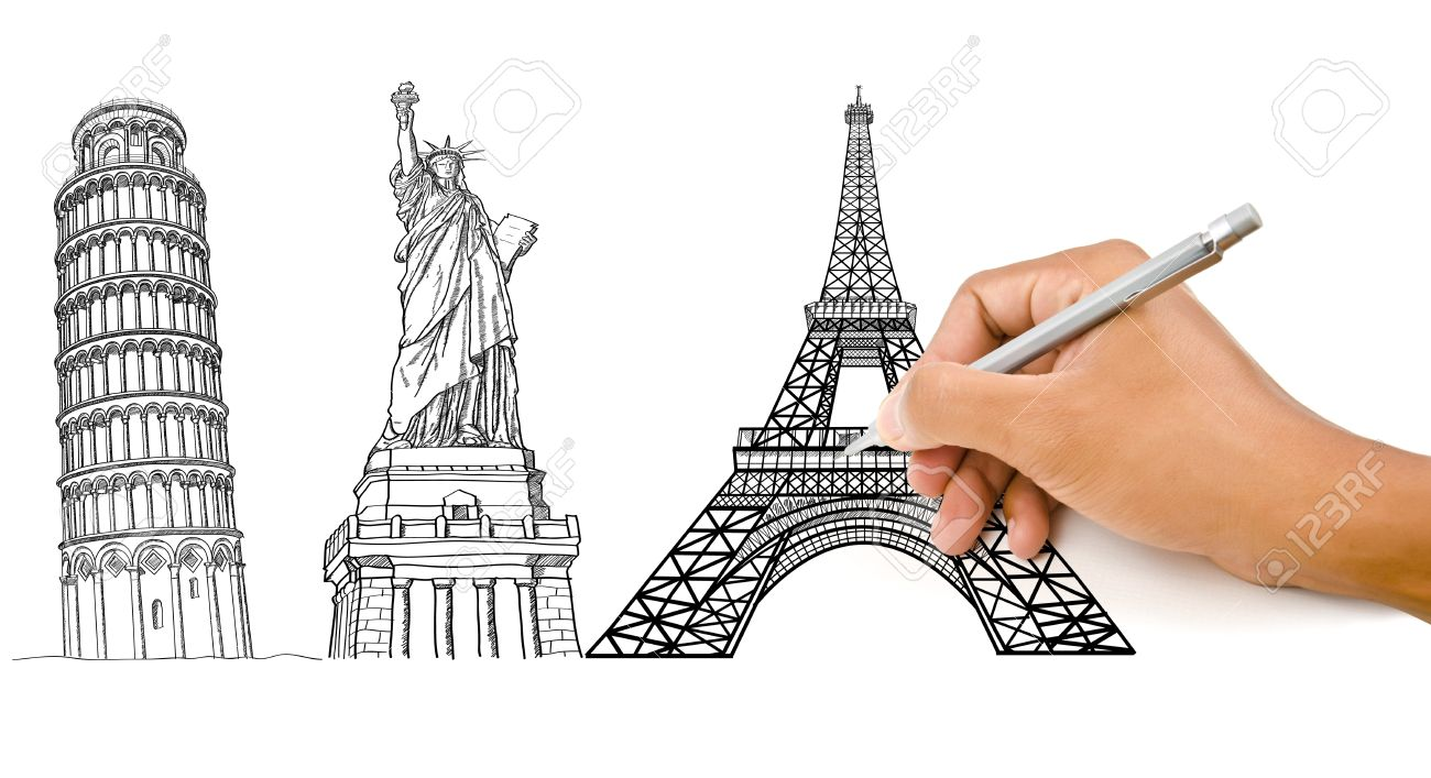 1300x707 Hand Drawing Pisa Tower, Eiffel Tower And Statue Of Liberty Line