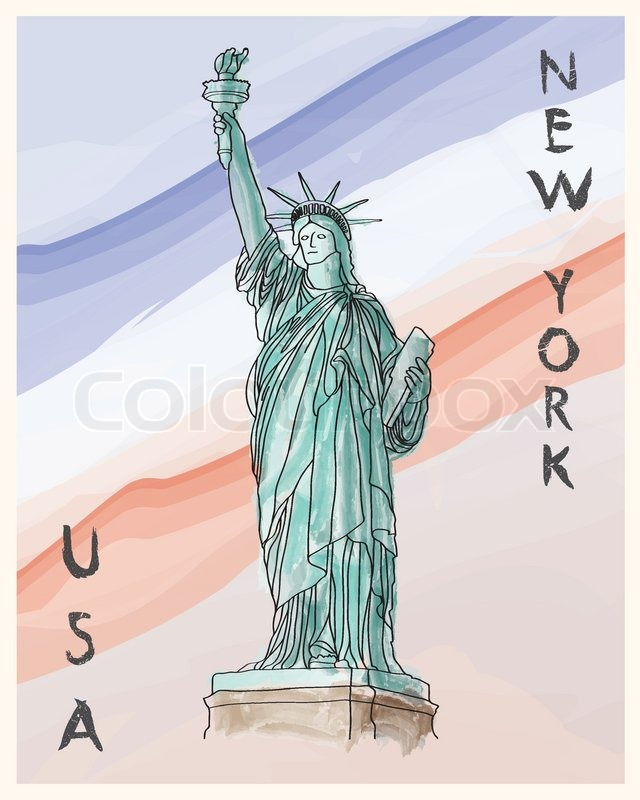 640x800 New York, Statue Of Liberty Hand Drawing Poster In Editable Vector