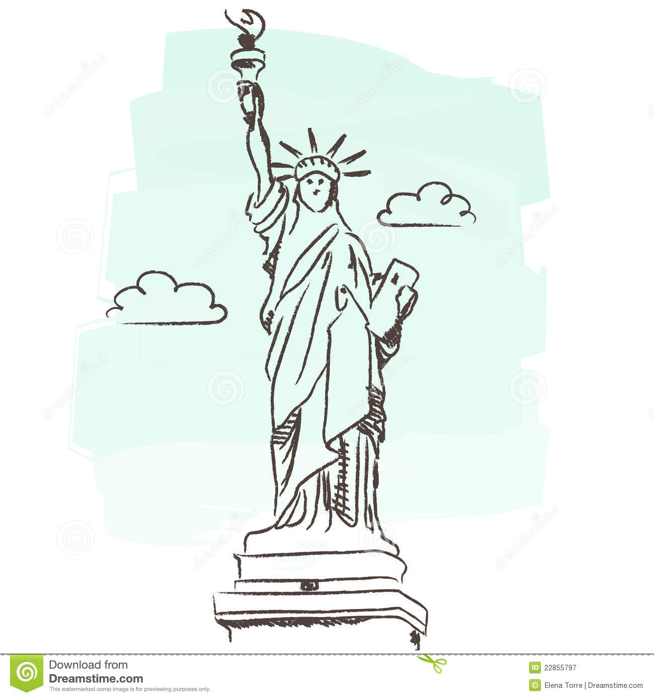 1300x1390 Statue Of Liberty Building Illustration