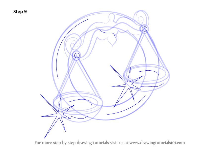 848x601 Learn How To Draw A Libra Zodiac Sign (Zodiac Signs) Step By Step
