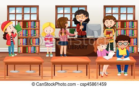 450x282 Children Reading Books In Library Illustration Clipart Vector