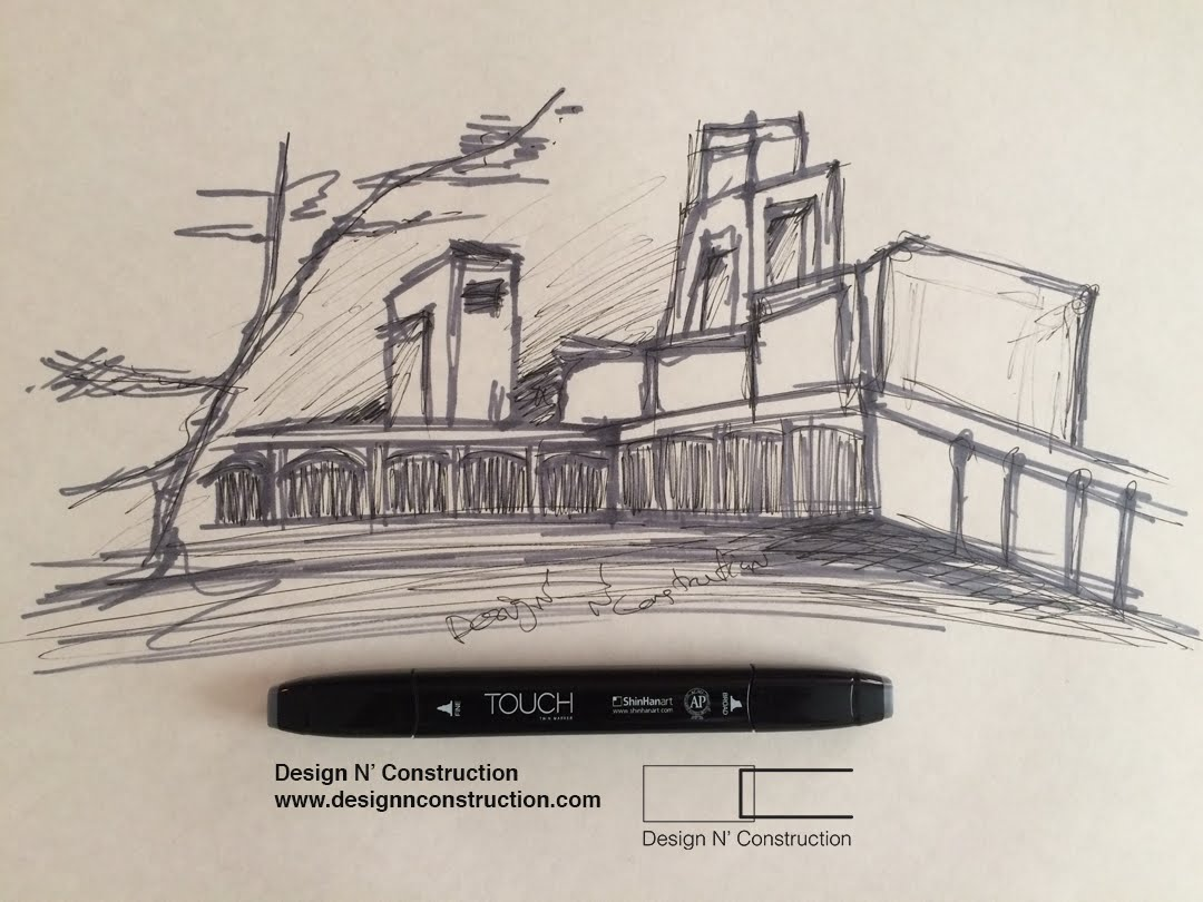 1080x810 Draw Perspective Of Library Building Tutorial