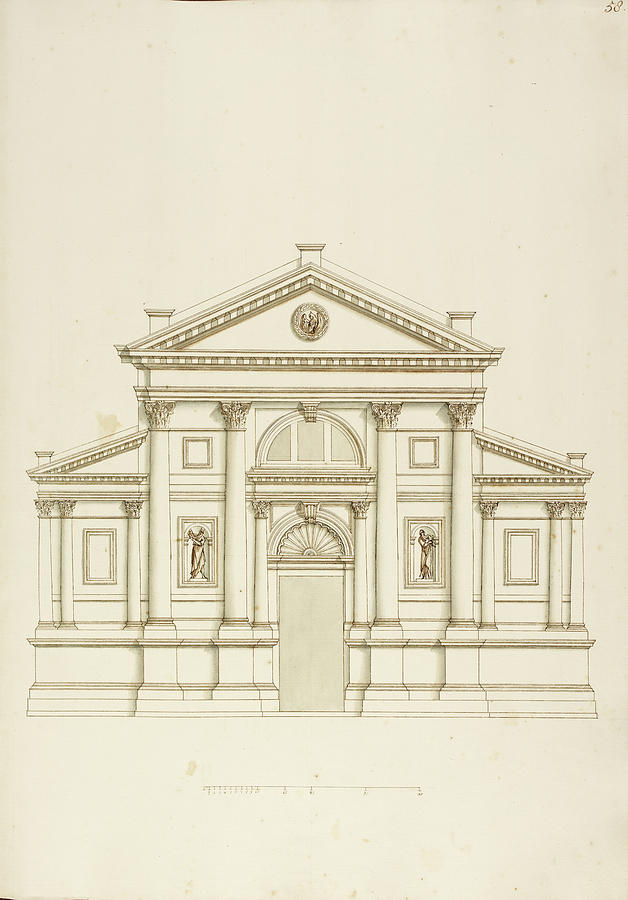 628x900 Drawing Of Elevation Of Italian Building Photograph By British Library