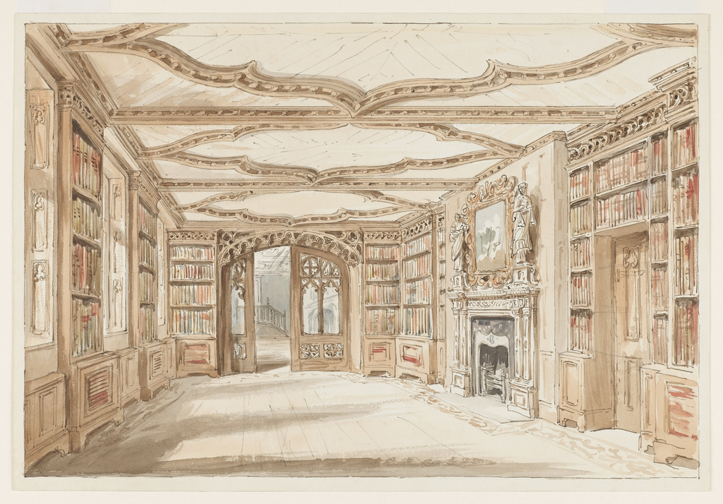 1024x714 Drawing, A Library In Gothic Style, Ca. 1860 Objects