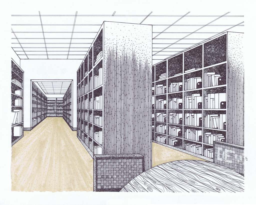 1024x819 Drawing Of A Library Perspective Drawings Devk101839s Blog