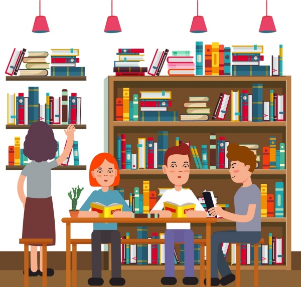 600x573 Library Drawing Readers Bookshelf Icons Colored Cartoon Free