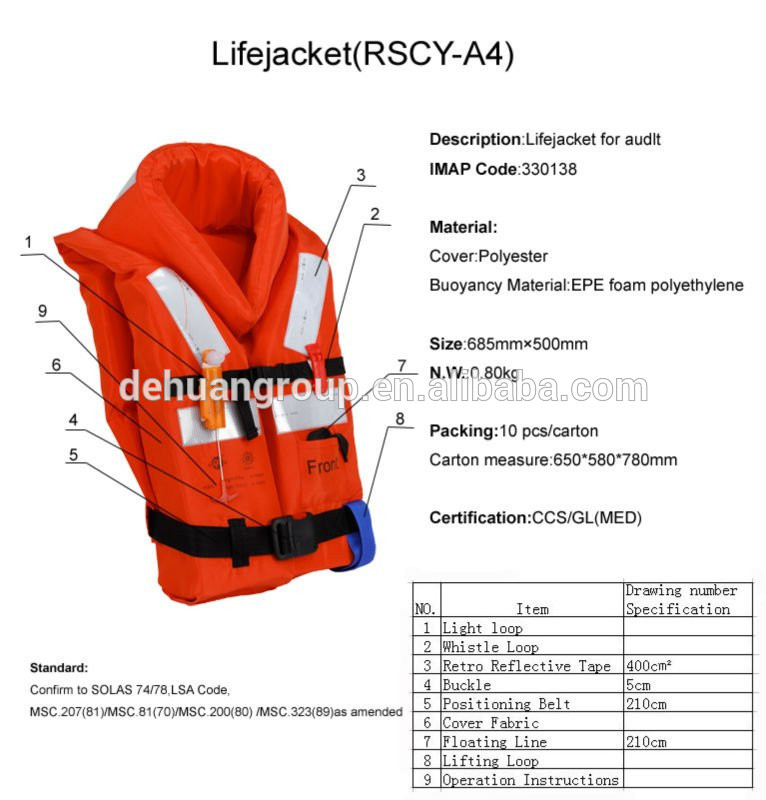766x800 Solas Life Jacket Marine, Life Vest For Ships, View Solas Life