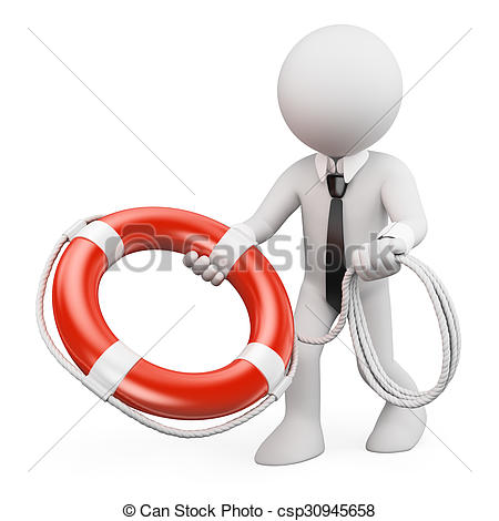 450x470 3d White People. Businessman Throwing A Life Preserver . Stock