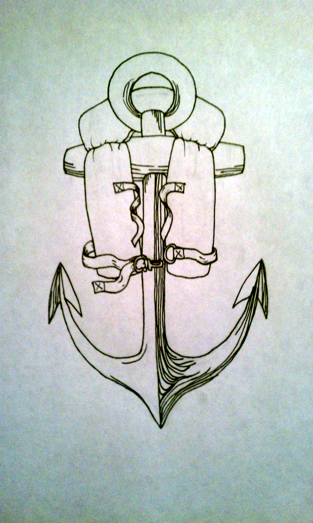 612x1023 Anchor And Life Jacket Tat By Leaguesunderthesea
