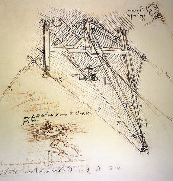 573x600 Drawings By Leonardo Da Vinci Ofn Ornithopter With Pilot,nd