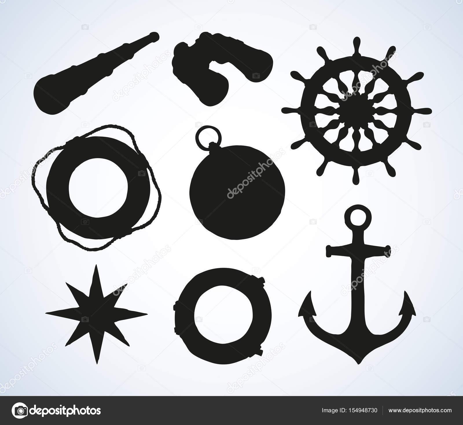 1600x1467 Marine Symbols. Vector Drawing Stock Vector Marinka