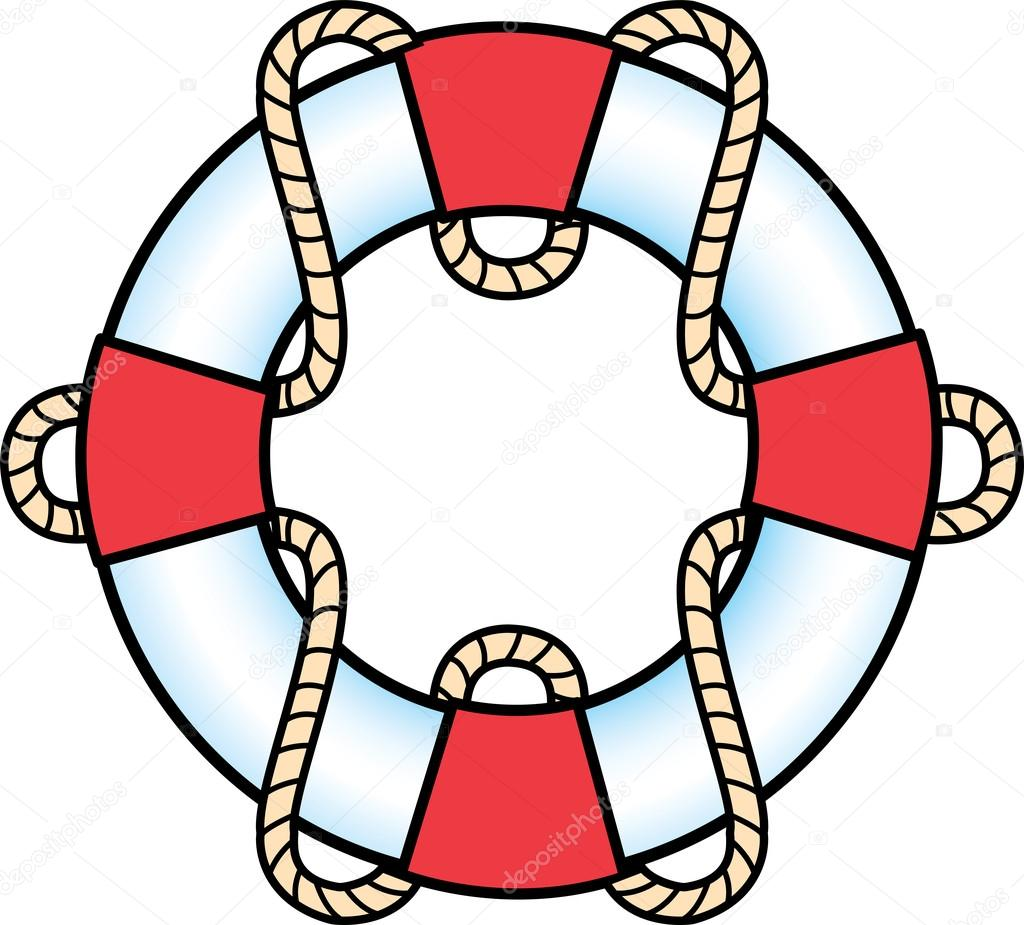 1024x925 Red And White Life Preserver Ring With A Rope Stock Vector