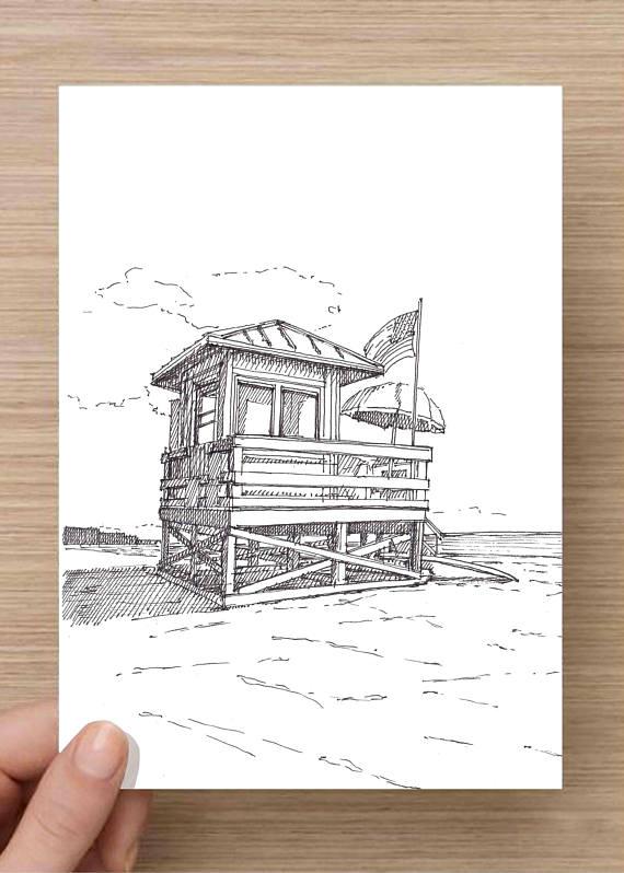 570x798 Ink Drawing Of Lifeguard Stand On Siesta Key Beach Florida
