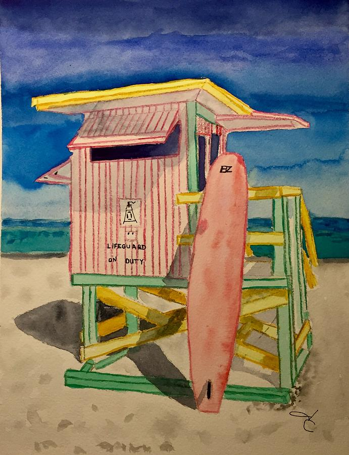 691x900 South Beach Lifeguard Stand Painting By Janet Chalif