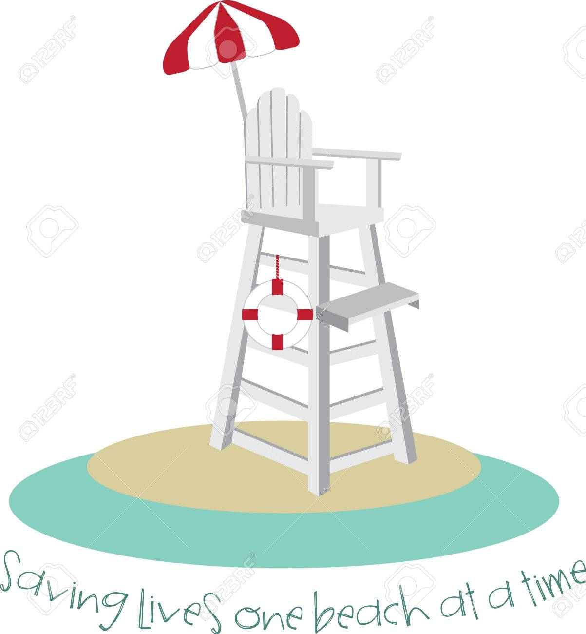 1203x1300 Tall Lifeguard Chair With A Red And White Umbrella. Royalty Free