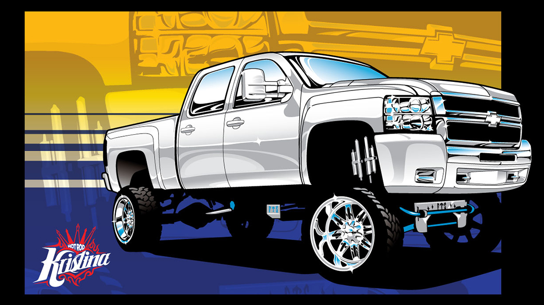 1080x607 Lifted Chevy Truck 4x4 Vector Clip Art Art By Hotrodkristina