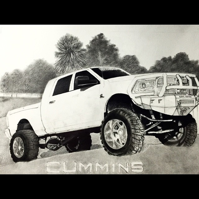 640x640 Lifted Truck Drawing