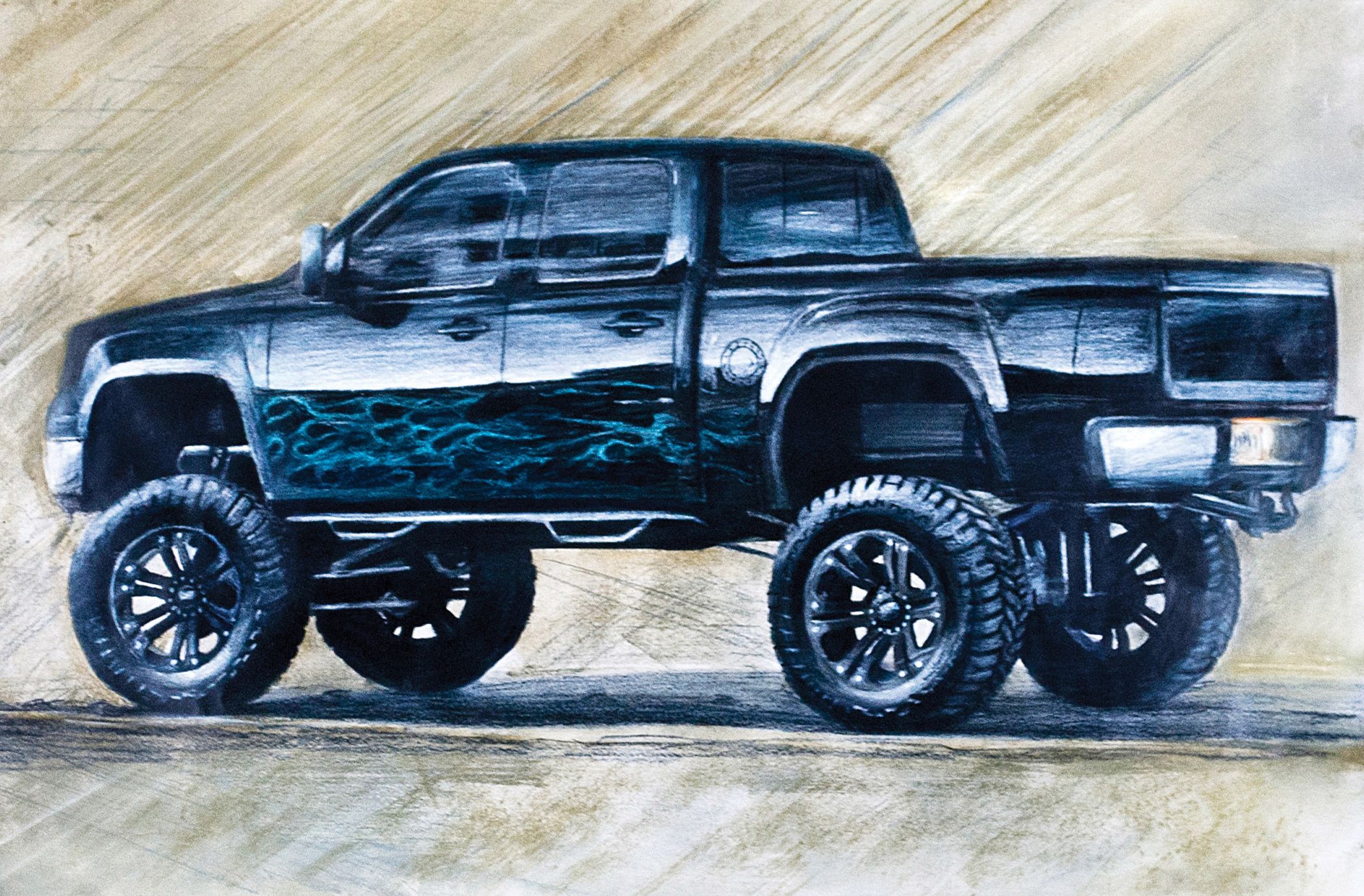 2100x1380 Sketch Of Black Lifted Chevrolet Silverado Truck Drawing Ideas