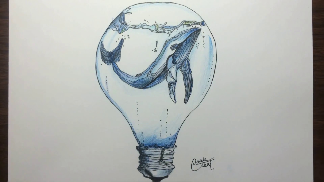 1280x720 Drawing A Whale In A Light Bulb