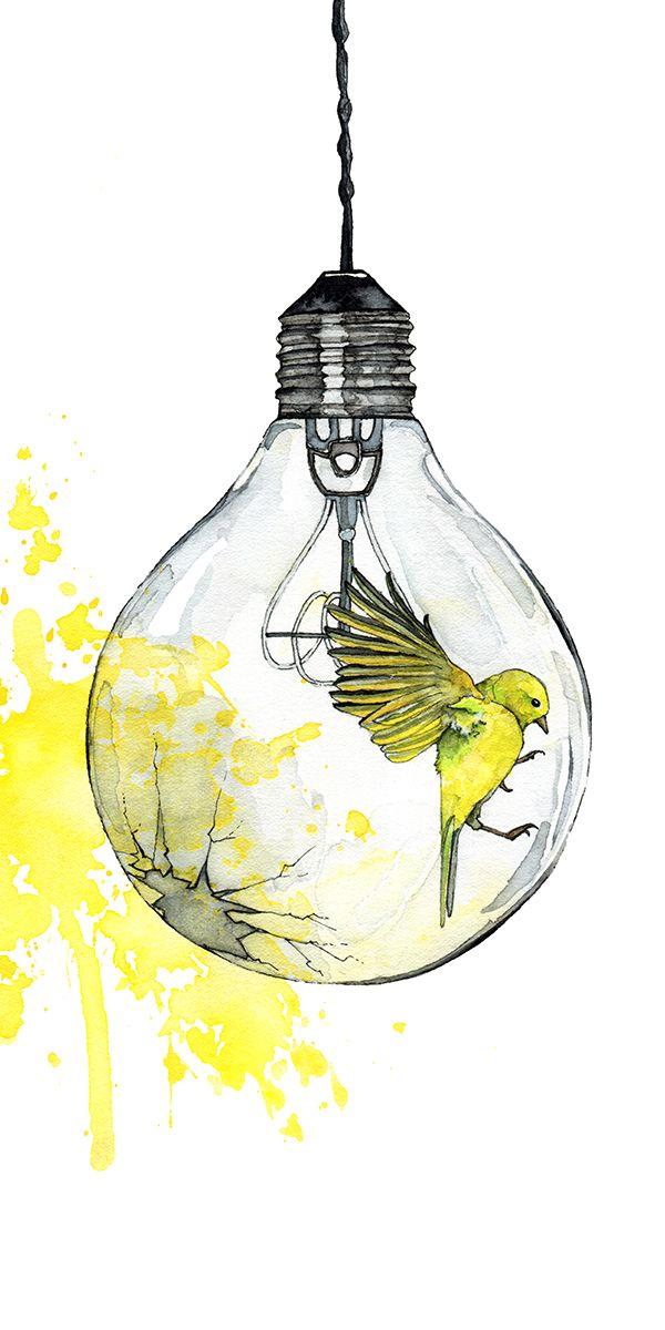 600x1200 Watercolor Painting, Light Bulb Painting, Watercolor Print, Bird