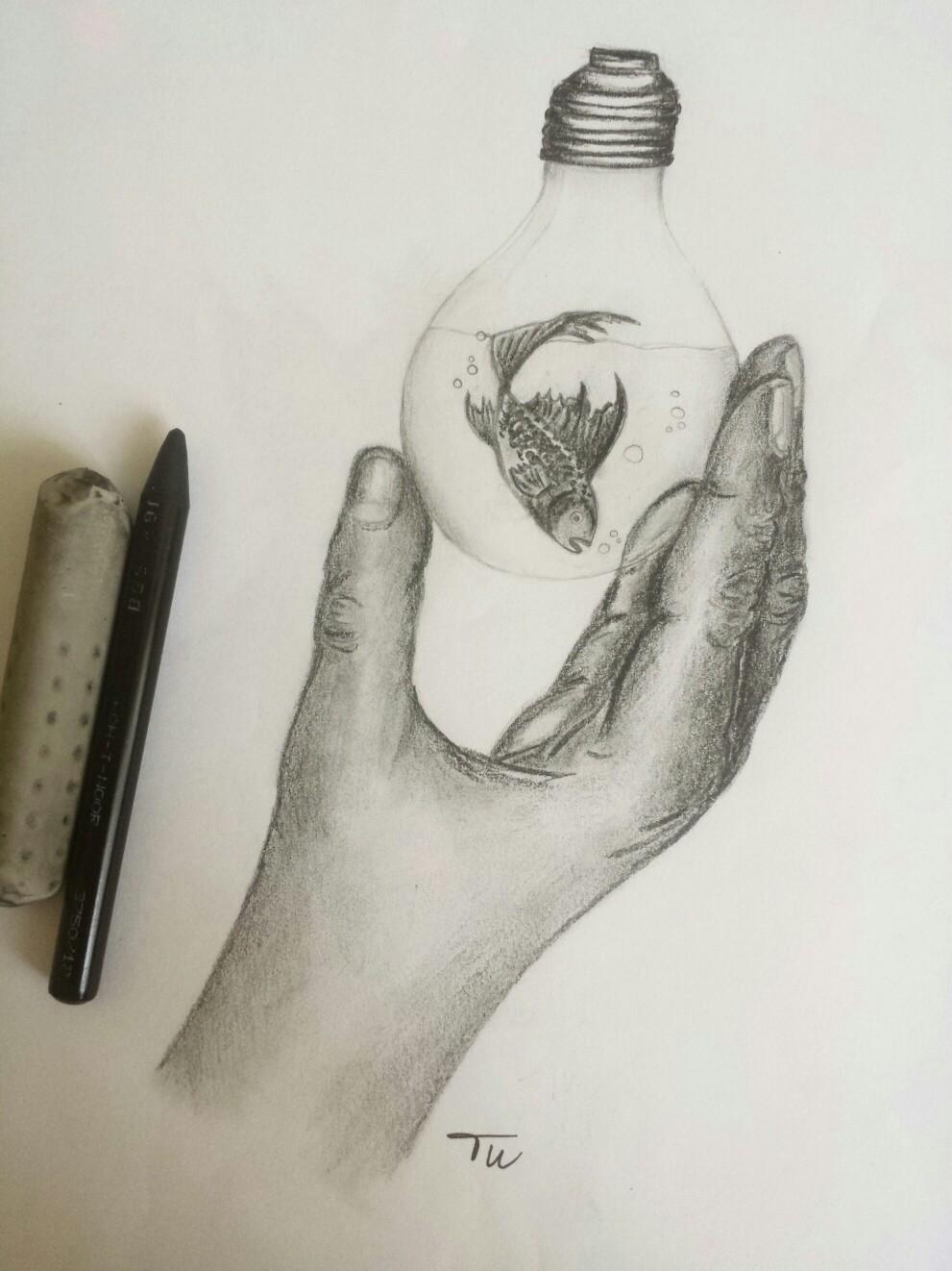 991x1322 Hand, Lightbulb, Fish Pencil Drawing By Tu Art, Drawings