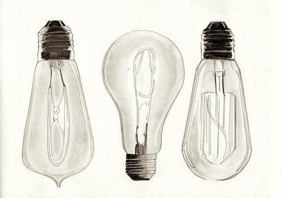 570x401 Vintage Edison Filament Bulb Lightbulb Pencil Illustration A4