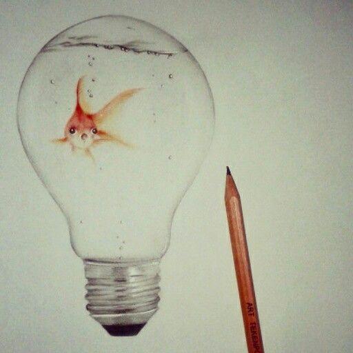 512x512 Fish In Light Bulb, Drawing ~fleur De Vree Drawing Inspiration