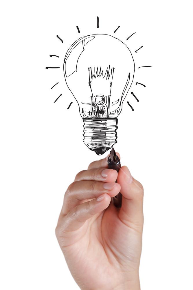 667x1000 Hand Drawing Light Bulb Royalty Free Stock Image