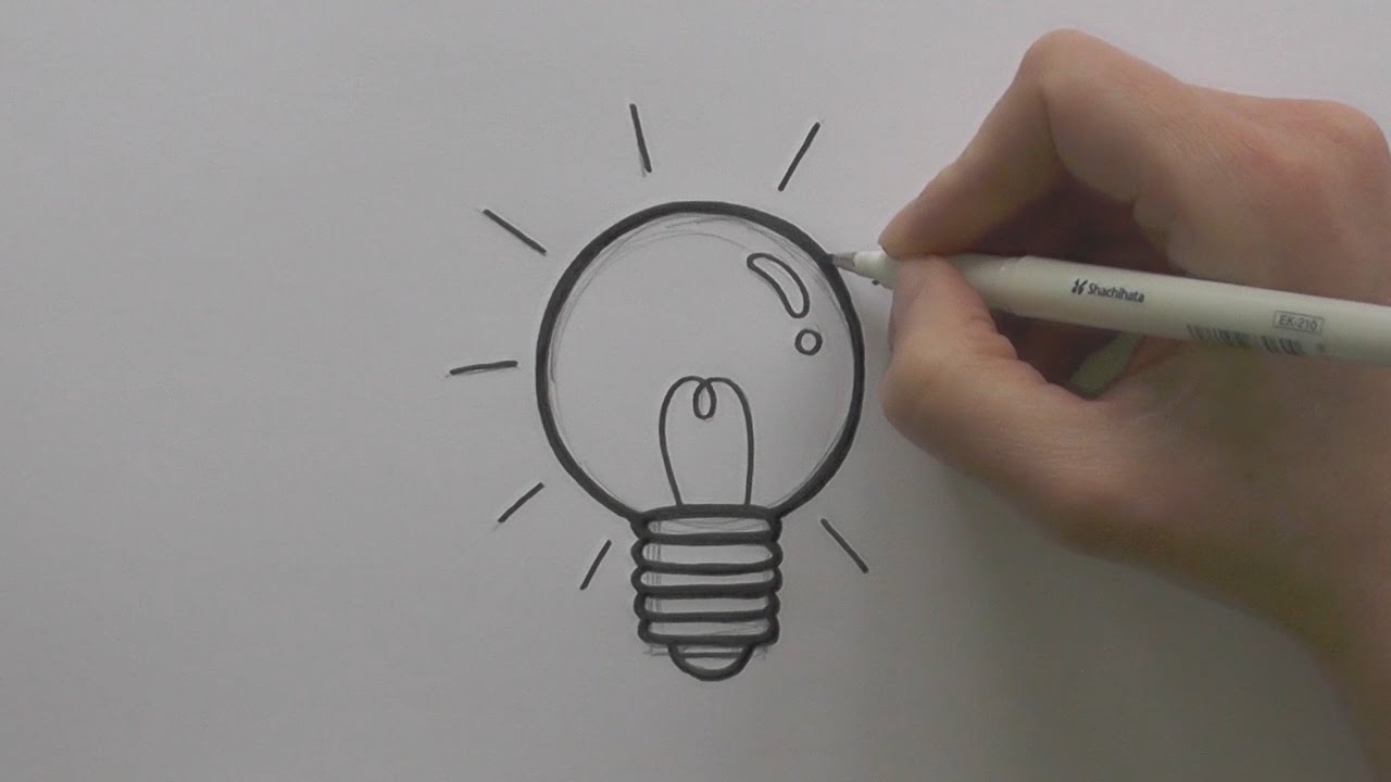 1280x720 How To Draw A Cartoon Lightbulb
