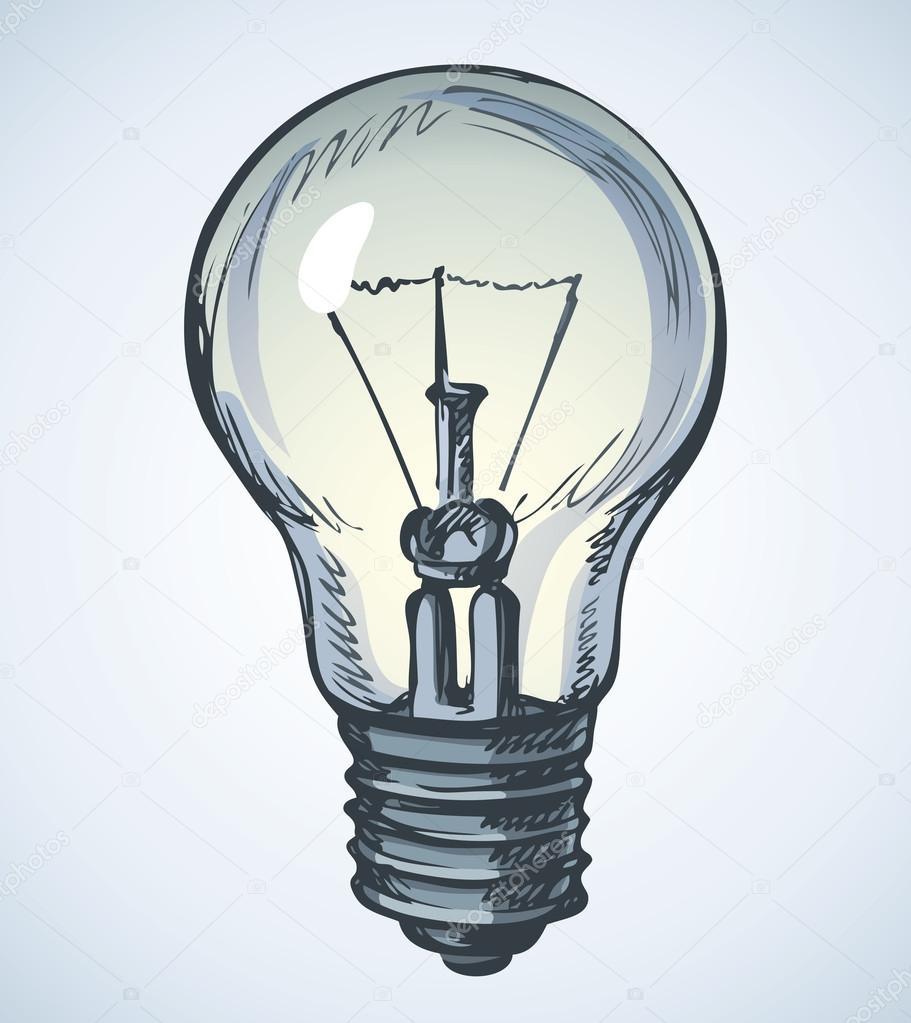 911x1023 Light Bulb. Vector Drawing Stock Vector Marinka