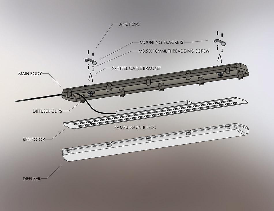 950x734 60W Vapor Proof Light Fixture