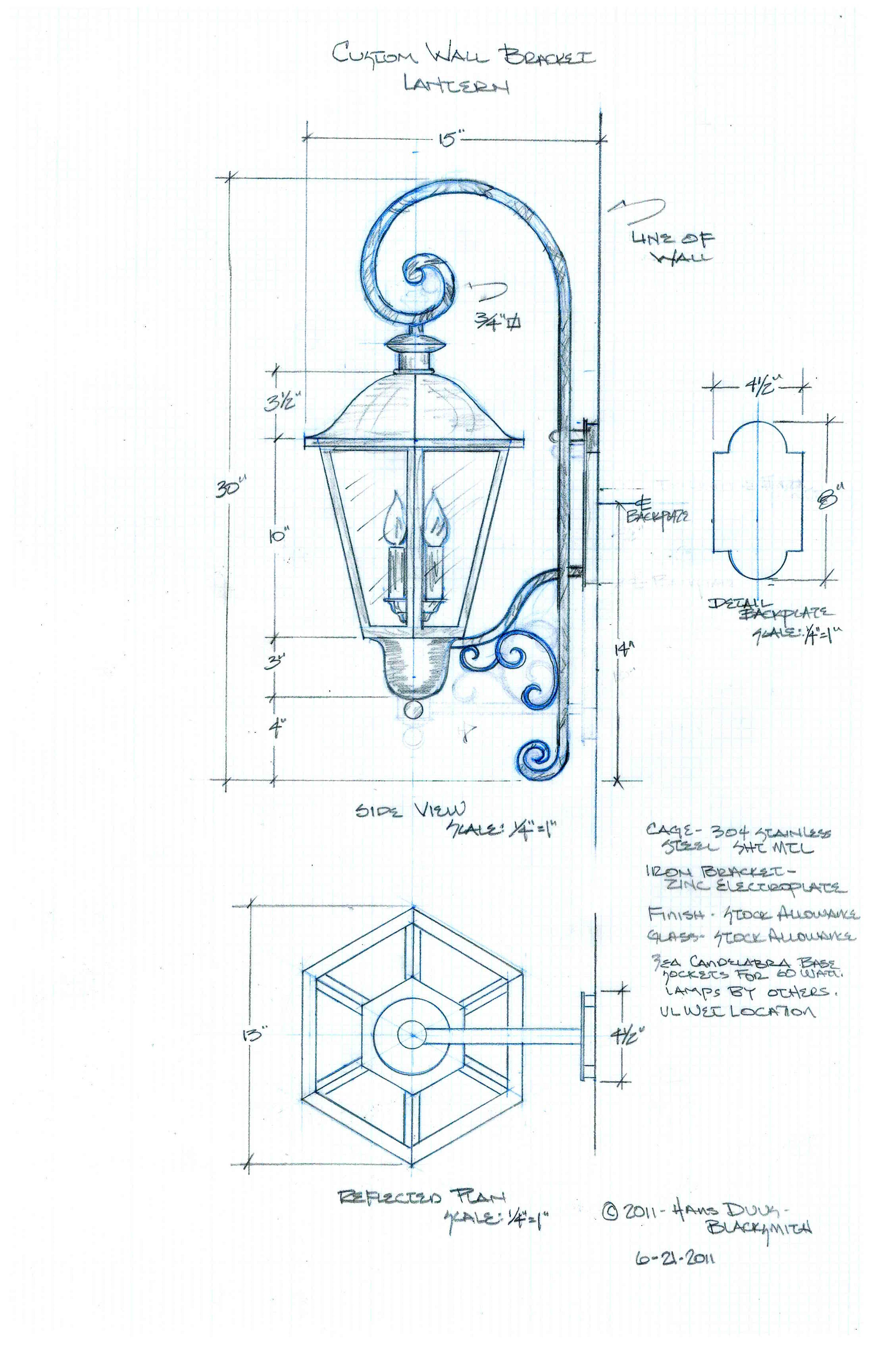 3360x5184 Custom Exterior Wall Mount Lantern