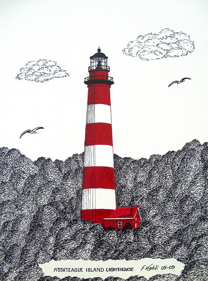 665x900 Assateague Island Lighthouse Drawing Drawing By Frederic Kohli