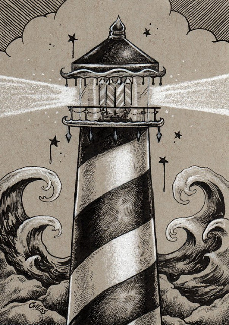 452x640 Bryan Collins Lighthouse Ink Drawing