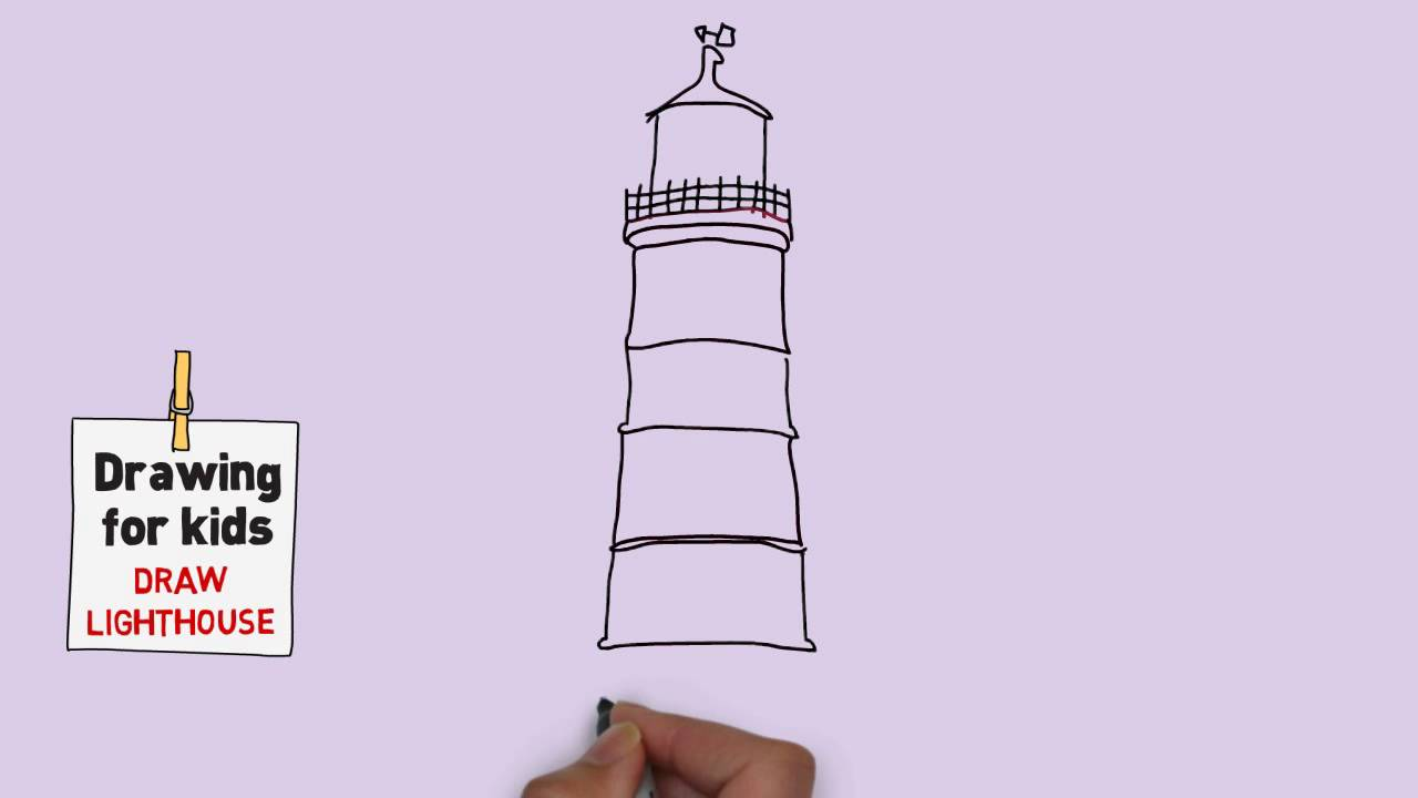 1280x720 How To Draw A Lighthouse Easy For Kids [Easy And Simple Drawing