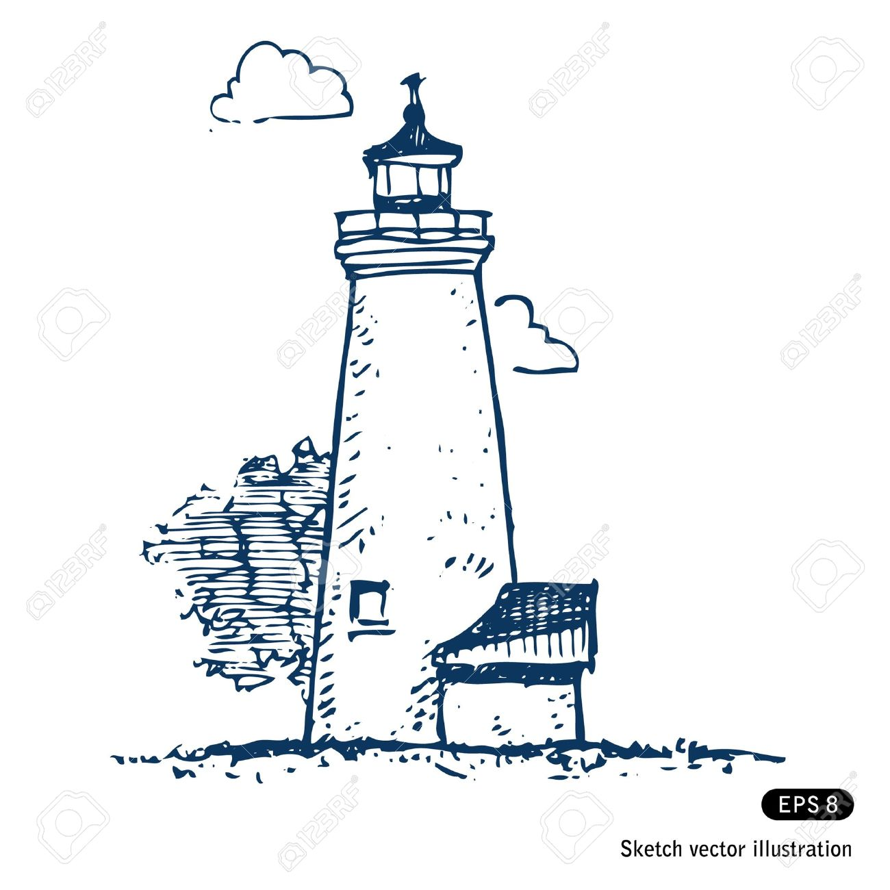 1300x1300 Lighthouse Hand Drawn Isolated On White Royalty Free Cliparts