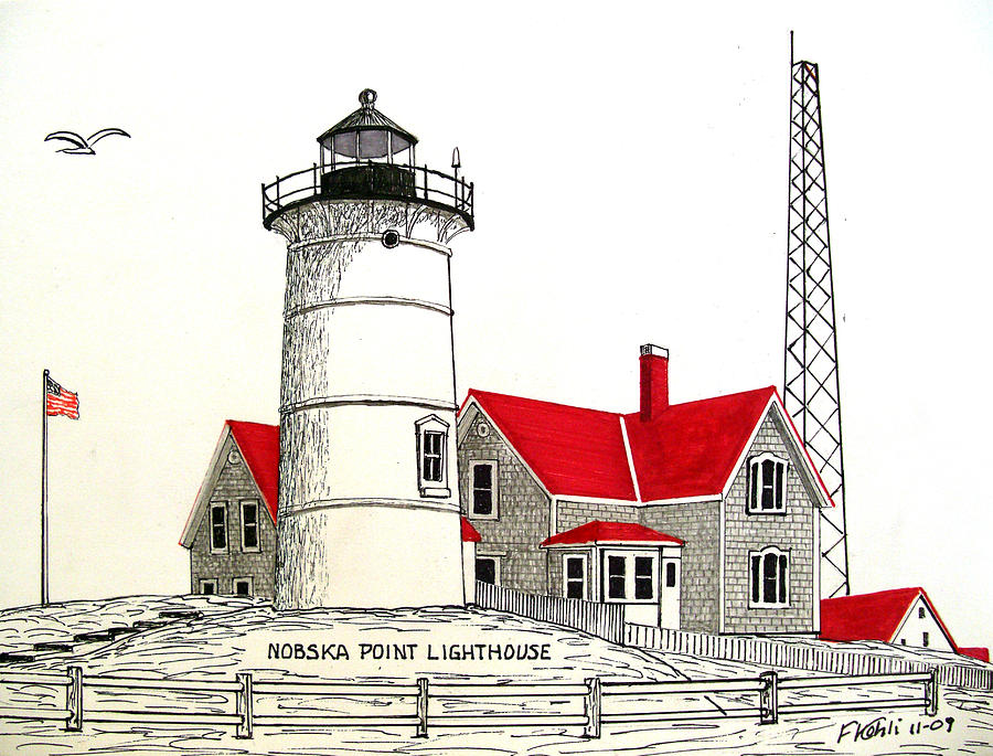 900x685 Nobska Point Lighthouse Drawing Drawing By Frederic Kohli