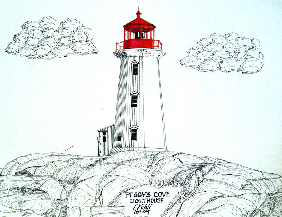 900x693 Peggys Cove Lighthouse Drawing By Frederic Kohli