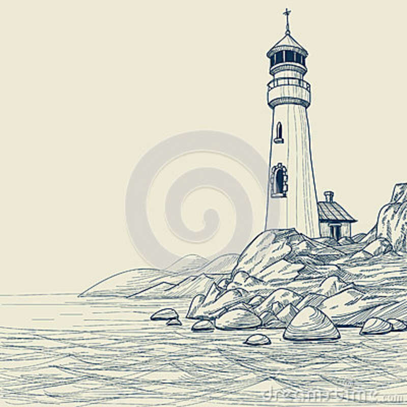800x800 Light House Drawings Lighthouse Drawing Royalty Free Stock