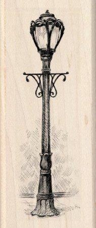 190x450 Inkadinkado Park Lamp Post Wood Stamp Arts, Crafts