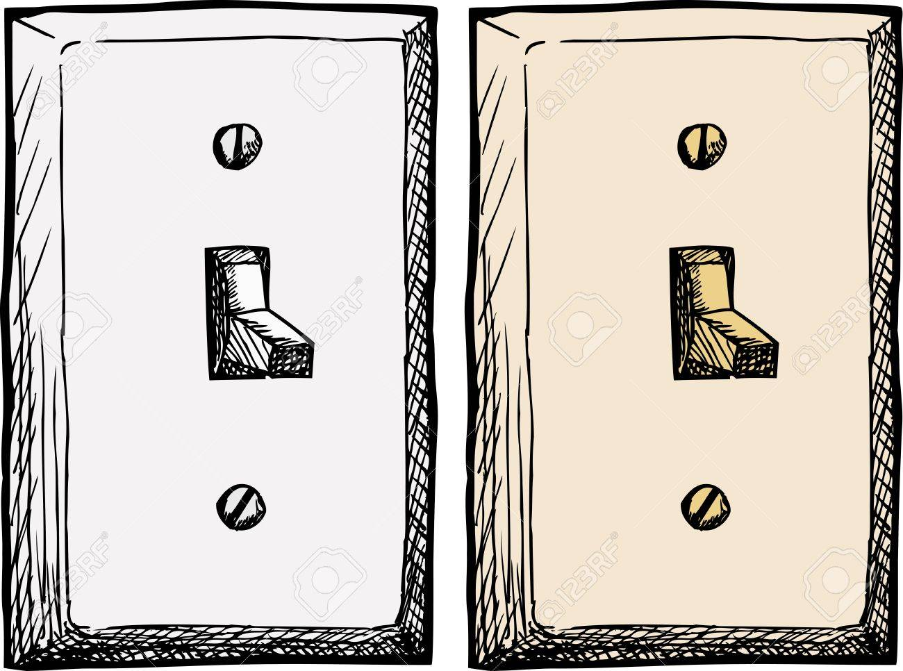 1300x966 Drawing Of A Single Wall Light Switch At An Angle Royalty Free