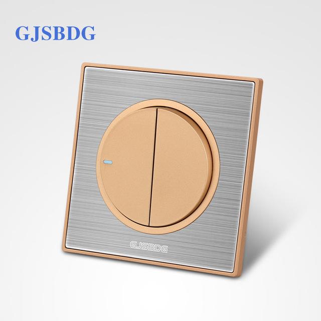 640x640 Half Price Sale 1pcs 2 Gang 1 Way Gjsbdg Luxury Wall Switch Panel