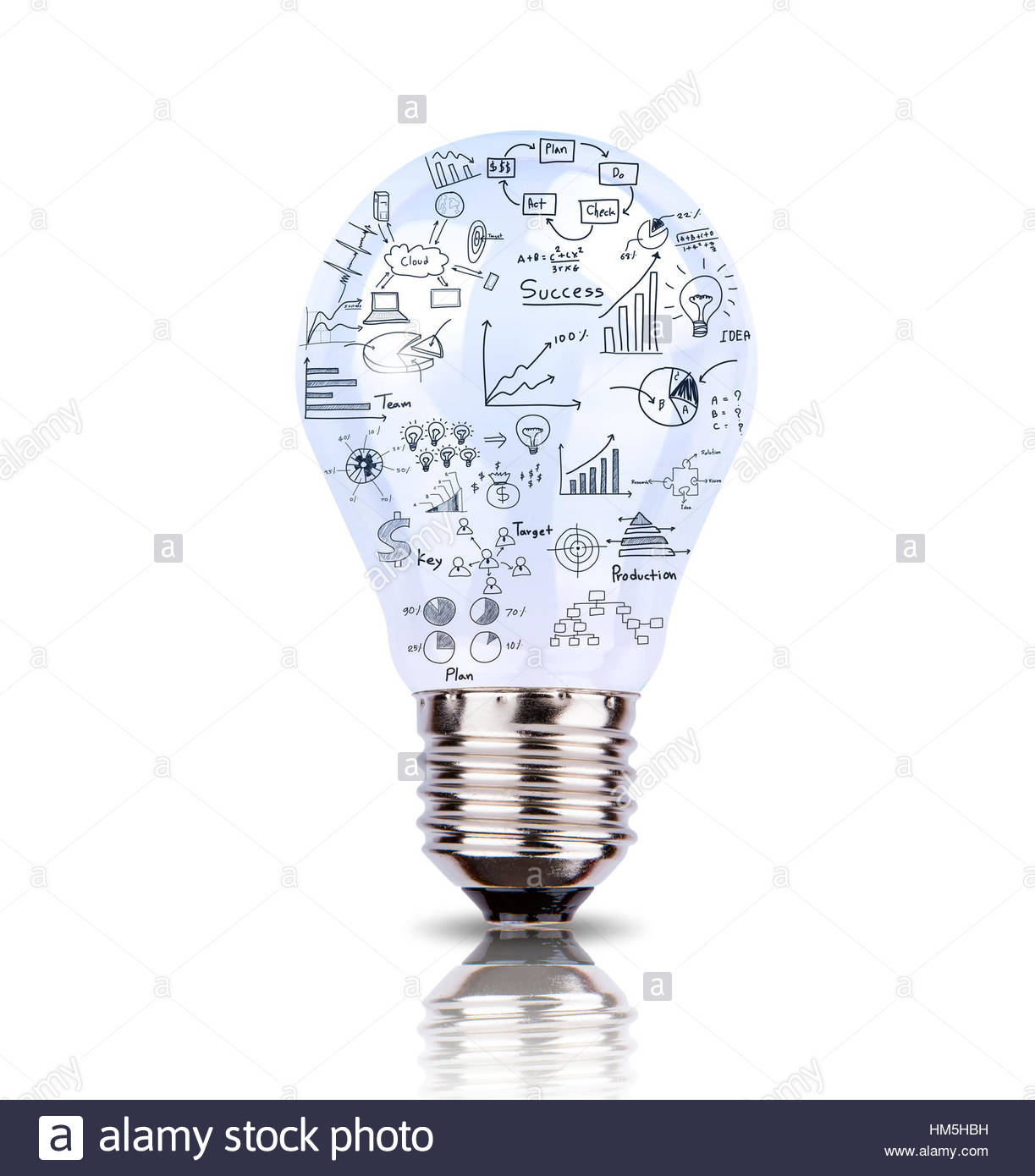 1223x1390 Light Bulb With Drawing Graph Inside Isolated On White Background