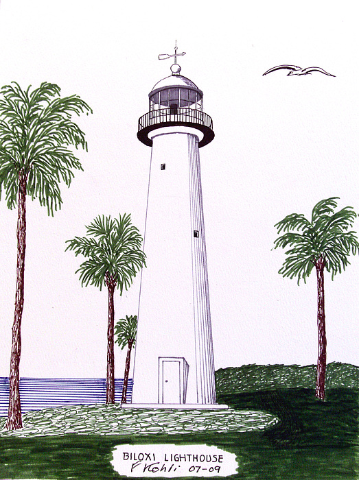 523x700 Biloxi Lighthouse Drawing by Frederic Kohli
