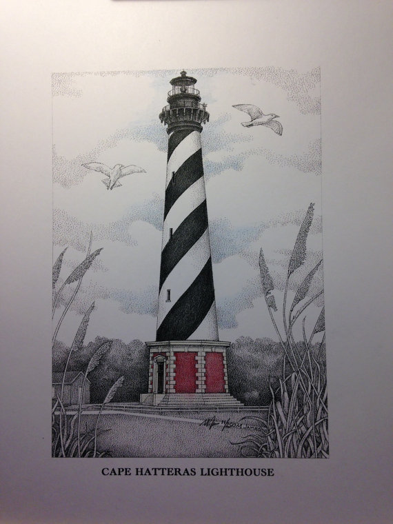 570x760 Cape Hatteras Lighthouse Drawing